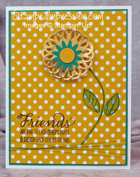 Gold Foil Doily Flower - http://stampedimpression.com